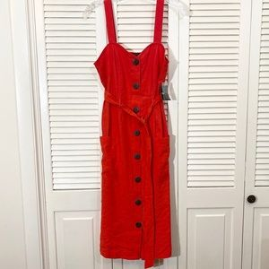 NWT Forever21 Midi Belted Button Dress